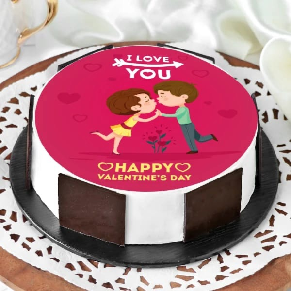 Valentine Kiss Chocolate Cake